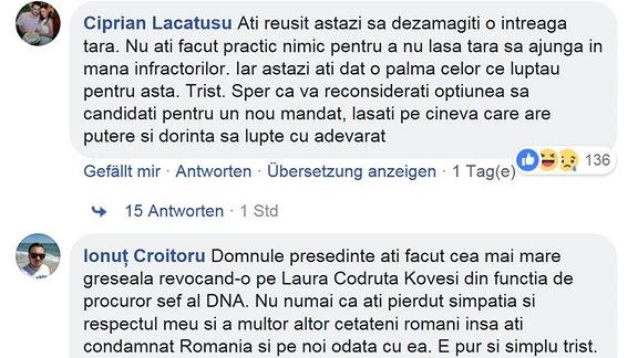 Facebook-Post von Facebook-Seite von rumänischen Staatschef Klaus Johannis