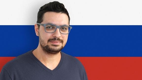 Fotomontage Mann vor Fahne
