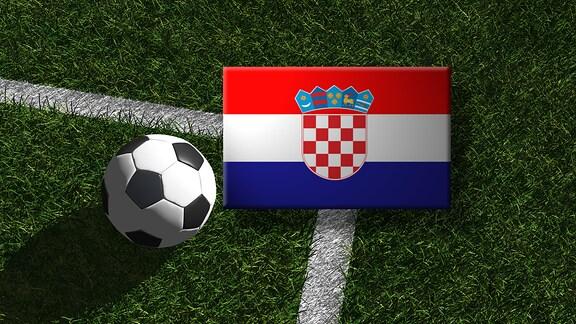 Die kroatische Flagge mit einem Fussball
