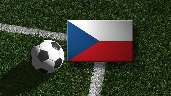 Die tschechische Flagge mit einem Fussball