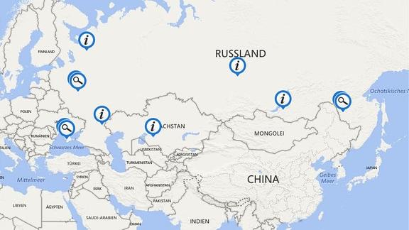 Karte mit den Orten der russischen Raumfahrt