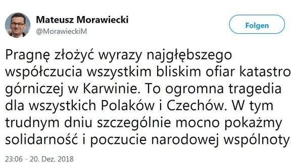 Twitter Eintrag Mateusz Morawiecki
