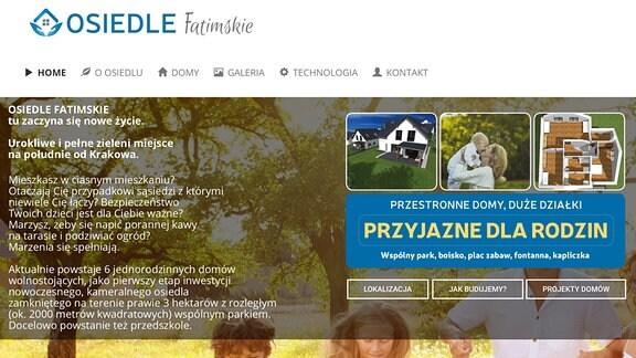 Webseite eines polnischen Wohnsiedlungsprojektes