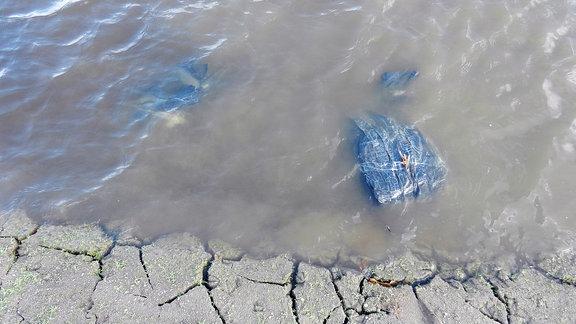 Ein Bündel Kleidung liegt am Ufer eines Sees.