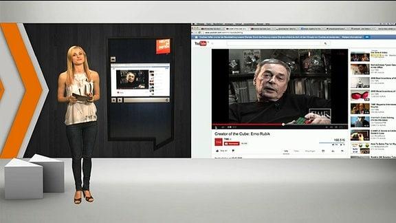 Heute im OSten Studio, im Hintergrund ein Youtube-video mit Erfinder Ernö Rubik.
