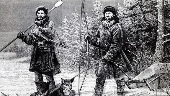 Illustration, die Ostiac-Jäger auf hölzernen Skis darstellt.