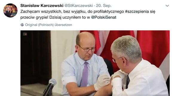 polnischer Gesundheitsminister Konstanty Radziwiłł und Sejm-Marshall Stanisław Karczewski