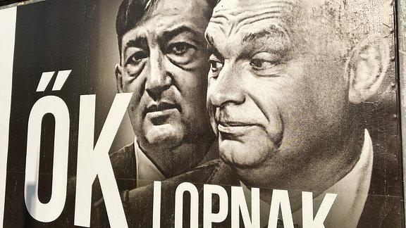 Jobbik und Orban auf einem Plakat.