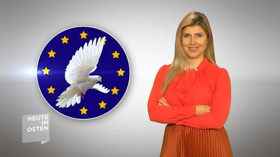 blonde Frau neben stilisierter EU-Flagge mit Friedenstaube darin