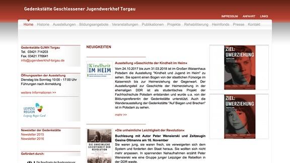 Webseite Gedenkstätte Jugendwerkhof Torgau