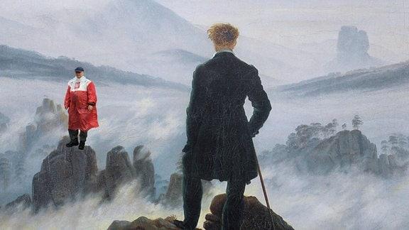 Kaczynski steht auf einem Berg in einem Gemälde (Fotomontage)