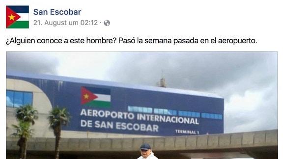 "Kaczynski am Flughafen ""De San Escobar"" in Mexiko (Fotomontage)"