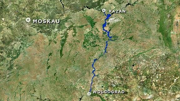 Karte Verlauf Wolga von Wolgograd nach Kazan