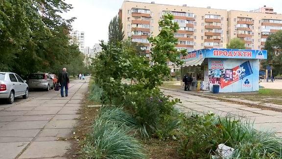 Straße im Kiewer Neubauviertel Darniza