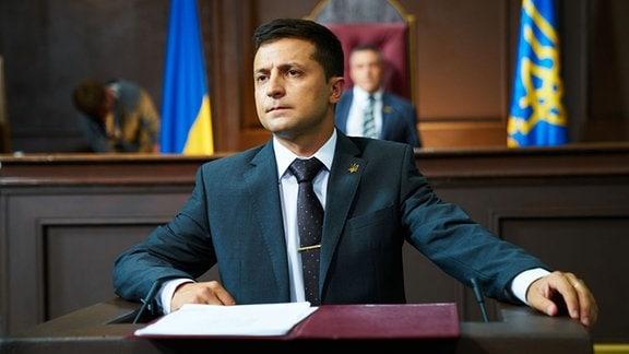 Ukrainischer Komiker und Präsidentschaftskandidat Wolodymyr Selenskyj in seiner Rolle als Präsident Goloborodko