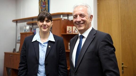 Laura Kövesi und Stanislaw Tillich