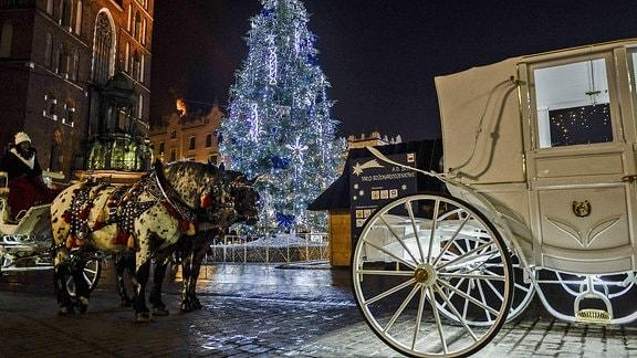 Blick auf den Weihnachtsmarkt in Krakau