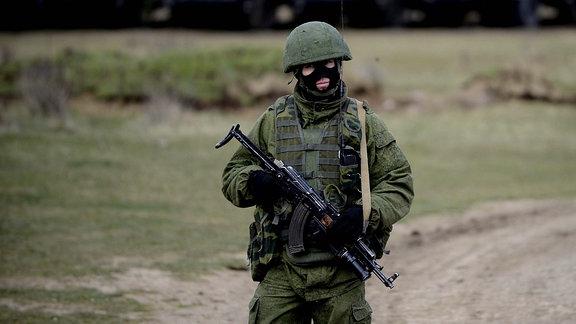 Vermummter Soldat
