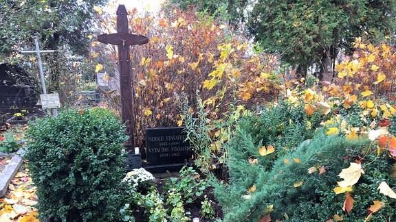 Kreuze und Grabstein auf einem Friedhof