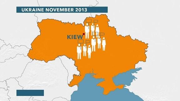 Karte Ukraine mit Pictogrammen von Menschen