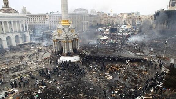 Kämpfe zwischen Polizei und Demonstranten auf dem Maidan in Kiew, 2014
