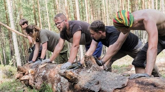 Junge Männer rollen einen Baumstamm durch einen Wald.