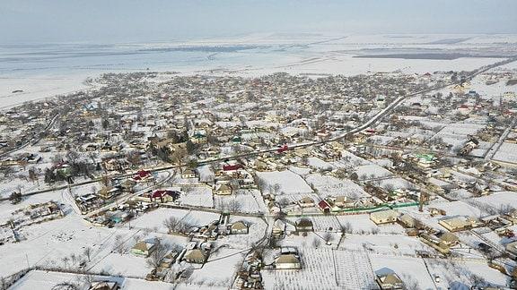 Das Dorf Braviceni aus der Vogelperspektive.