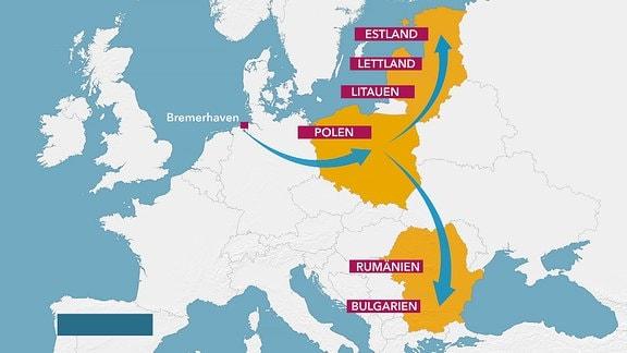 Karte NATO-Truppenverlegung nach Osteuropa
