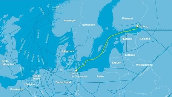 Karte von Europa. Eine gelbe Linie schlängelt sich von Russland rechts oben nach Deutschland links unten.