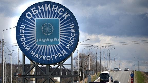 Schild und Wappen von Obninsk