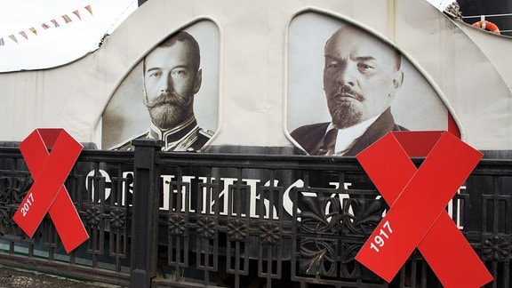 Zar Nikolai II und Lenin