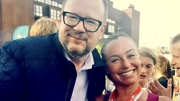 Danziger Journalistin Kasia Tuszynska zusammen mit dem tragisch verstorbenen Oberbürgermeister von Danzig Pawel Adamowicz beim Westerplatte-Lauf im September 2018