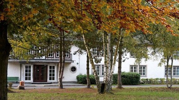 Haus, teilweise verdeckt durch Bäume.