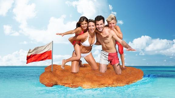 Familie fliegt auf einem Schnitzel übers Meer