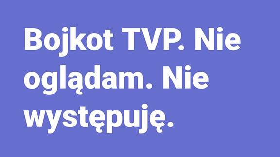 Aufruf auf Facebook für ein Boykott des polnischen TV-Senders TVP.