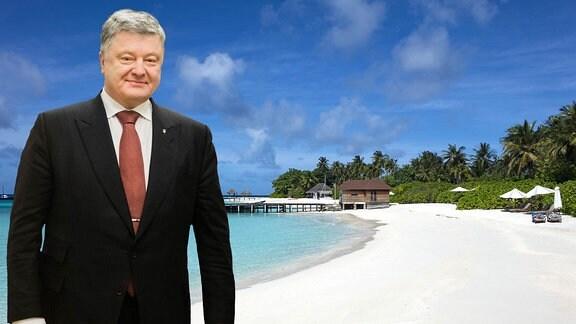 Poroschenko Malediven (Bildmontage)