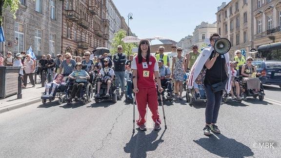 Polen kämpfen für die Rechte von Behinderten.