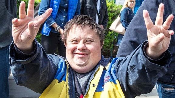 Behinderte protestieren in Sejm.