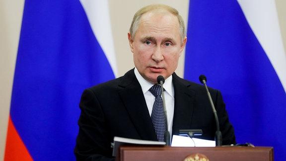 Wladimir Putin, Präsident Russlands, während einer Rede im Kreml.