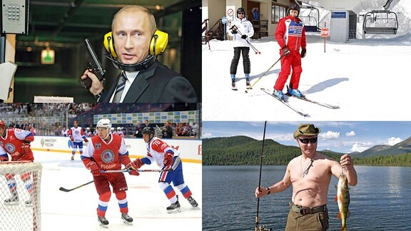 Putin beim Eishockey, Angeln, Skilaufen und Schießen