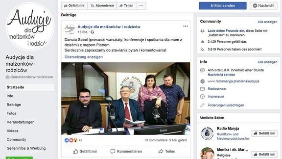 Facebook Auftritt von Radio-Maryja Sendung