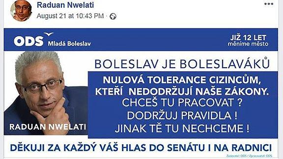 Facebook-Post mit tschechischer Schrift. In der ecke das Protrait eines mittelalten Mannes mit Brille