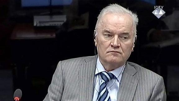 Der ehemalige Militärkommandant der bosnischen Serben, Ratko Mladic, am 28.01.2014 vor dem UN-Tribunal in Den Haag.