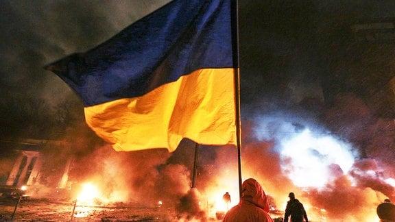 Barrikaden auf dem Maidanplatz 2014
