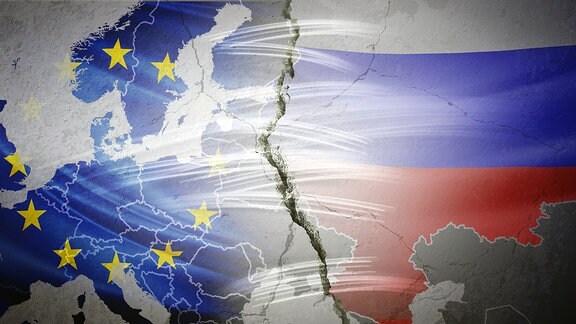 Europakarte mit Riss zwischen Russland und EU