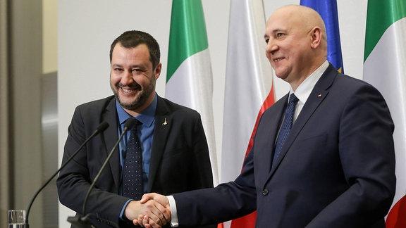 Matteo Salvini und Joachim Brudzinski