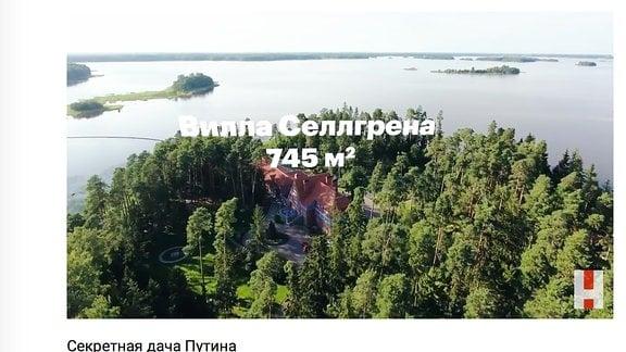 Auschschnitt aus Alexej Nawalnys Video über Putins Ferienanwesen nahe Sankt Petersburg.