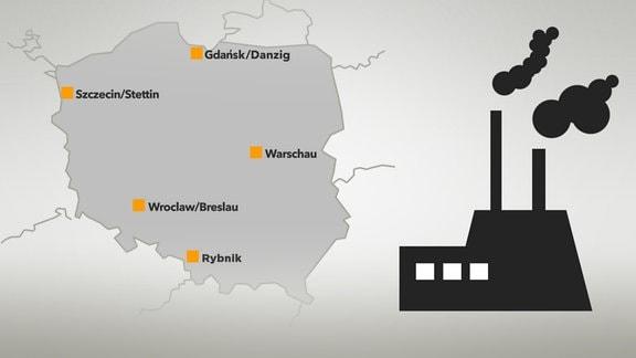 Karte von Polen mit Warschau, Danzig, Stettin, Breslau, Rybin