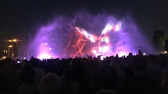 Farbige Lichtshow, Publikum bei Nacht