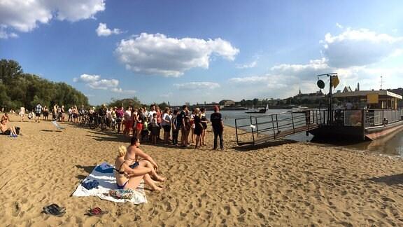 Strand, Menschen, Boot